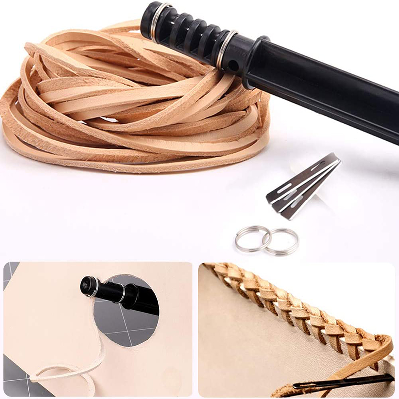 LMDZ Leather Cord Knife Hand Rotary Cutting Wire Cutter Leathercraft Tool Cord Knife with 3 Blade Leather Cutting-4