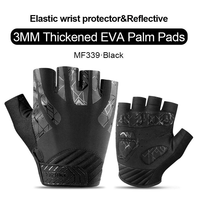 MH339-Black-INBIKE Summer Men Women Half Finger Shockproof Cycling Gloves