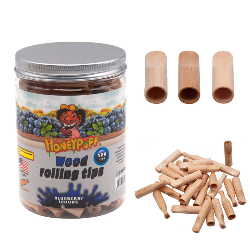 HONEYPUFF Wood Mouth Tips With Blueberry Flavor Smoking Wooden Mouth Filter Tip Cigarette Pre Rolled Cone Holder Tobacco Pipe