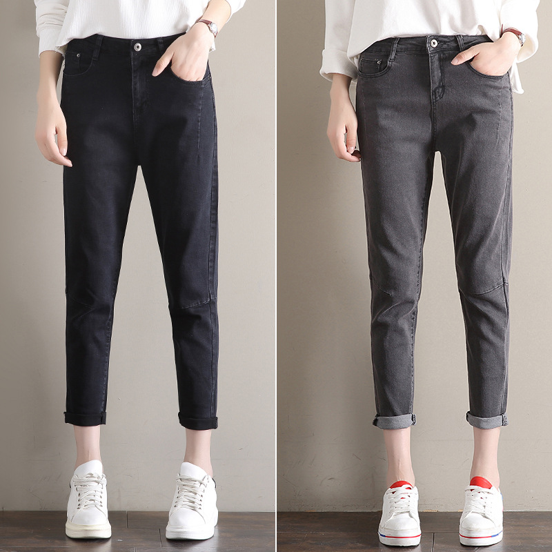 Women's jeans summer Korean version of the new retro high-waist elastic tight-fitting Cropped pants