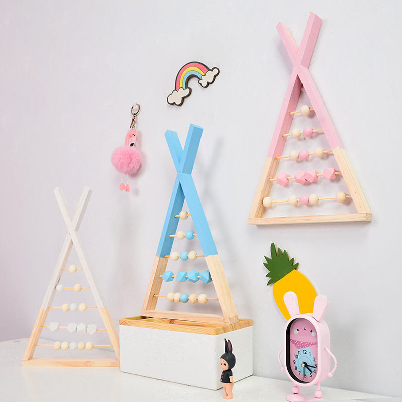 Nordic Style Nursery Natural Wooden Abacus With Beads Craft Baby Learning Educational Toys Room Decoration Scandinavian Style