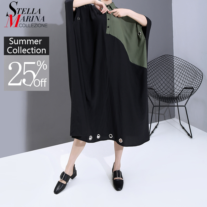 New 2020 Women Summer Black Patchwork Long Shirt Dress Plus Size Lapel Metal Ring Holes Lady Unique Casual Dress Robe Femme 6163(China)