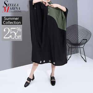 New 2020 Women Summer Black Patchwork Long Shirt Dress Plus Size Lapel Metal Ring Holes Lady Unique Casual Dress Robe Femme 6163(China)