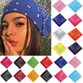 17KM Bohemian Print Bandana Hair Bands for Girls Women Kids Unisex Square Scarf Turban Headband Hair Accessories