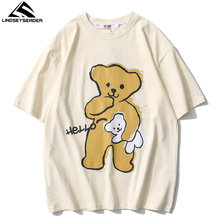 T-shirt manches courtes homme, Streetwear, Hip-Hop, estival et surdimensionné, avec Hello Bear imprimé, en coton, Harajuku