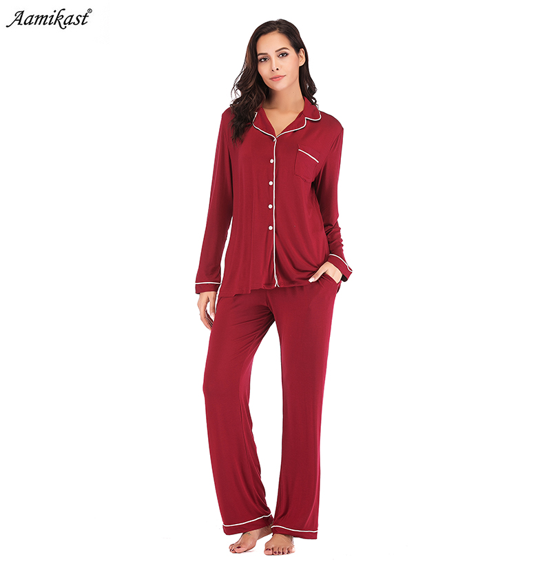 2020 New  Womens Solids And Prints Fleece Pajamas Long Button Down Pj Set Pajamas Sets Home Wear Tracksuit Pyjamas Suits