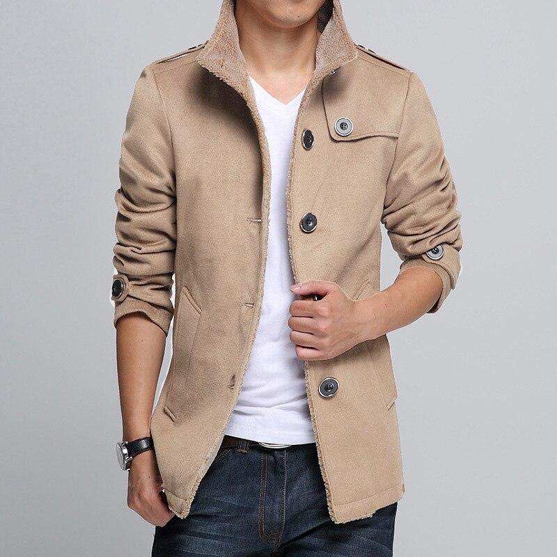 New Arrival Slim Plus Size Mens Winter Khaki Coat Windbreaker Boys Outerwear Woolen Blend Coat Long Sleeve Male Thick Overcoat