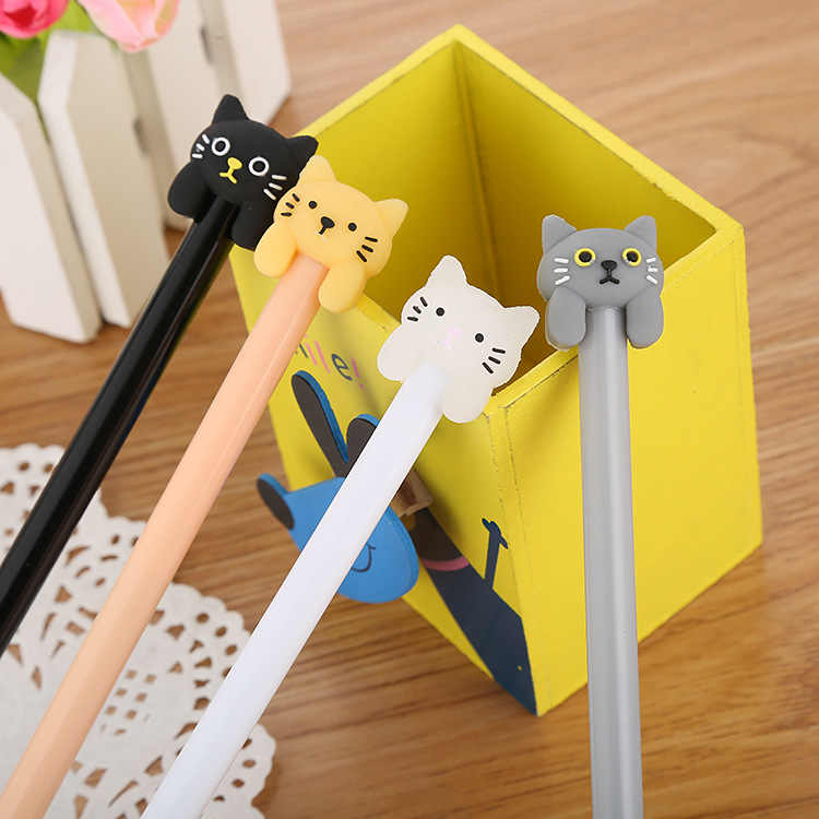 Creative Cartoon Cat Gel Pen Cute Learning Stationery Office Supplies Black Water-Based Pen