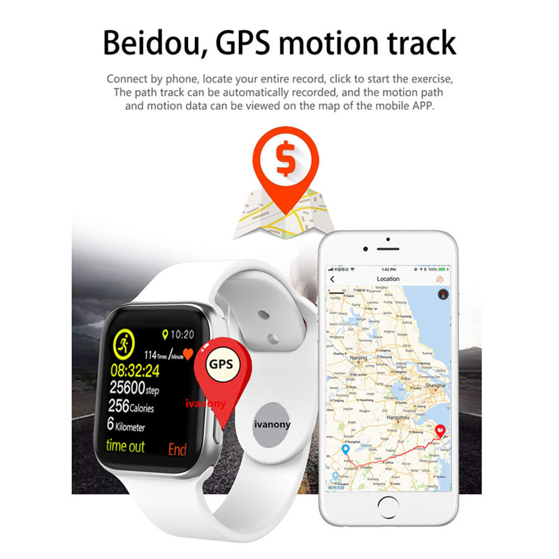 IWO 9 Bluetooth Smart Watch Series 4 1:1 Heart Rate GPS Tracker Sports Smartwatch For Iphone Samsung Fast Ship for Dropshipping - 6