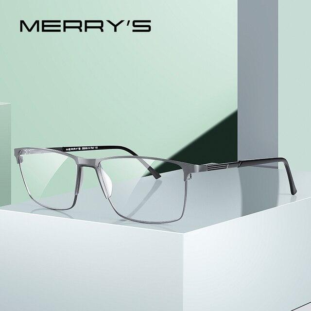 MERRYS Дизайнерские мужские очки из титанового сплава , оправа в деловом стиле , Мужские квадратные ультралегкие очки для близорукости, очки по рецепту S2170