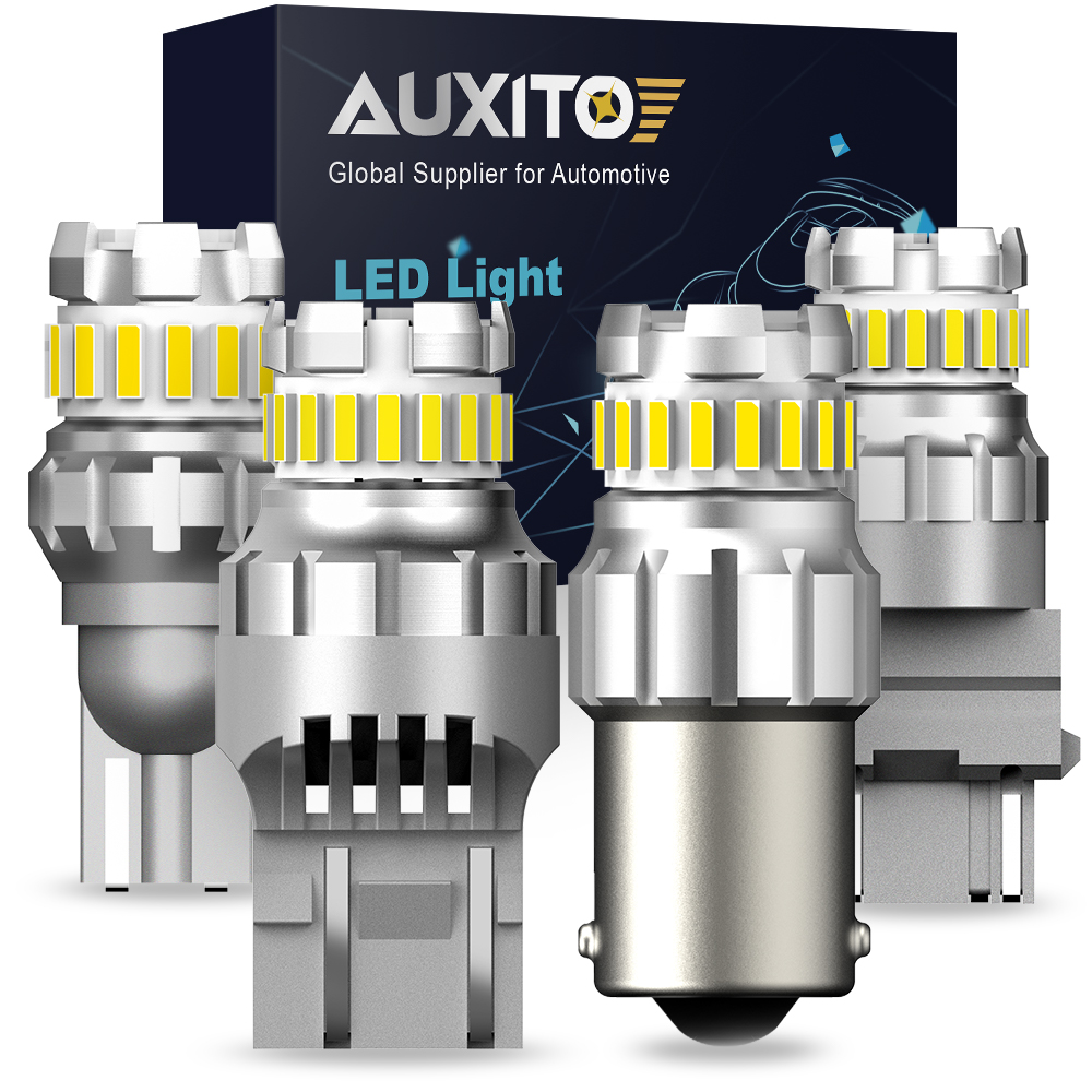 AUXITO 2Pcs <font><b>P21W</b></font> <font><b>led</b></font> 1156 T20 W21/5W 7443 P21/5W 1200LM W21W Car <font><b>Bulb</b></font> 7440 BA15S BAY15D PY21W Auto DRL Light 1157 White 12V Lamp image