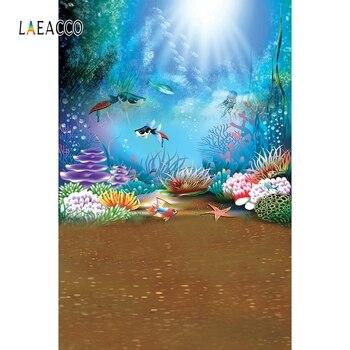 Laeacco mundo submarino, fondos de fotografía temática de sirena, fotofono, fondos de fotografía mar perla burbuja Coral bebé cumpleaños