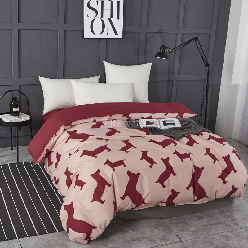 1 Piece Wine Red Dog Printed Duvet Cover with Zipper Cotton Quilt or Comforter or Blanket Case Twin Full Queen King Bedclothes|Duvet Cover| |  - title=
