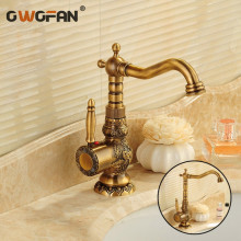 Bathroom Sink Basin Mixer Tap Brass Deck Mounted Carving Faucets WC Bathroom Faucet Antique Bronze Hot and Cold Water Tap 3663F