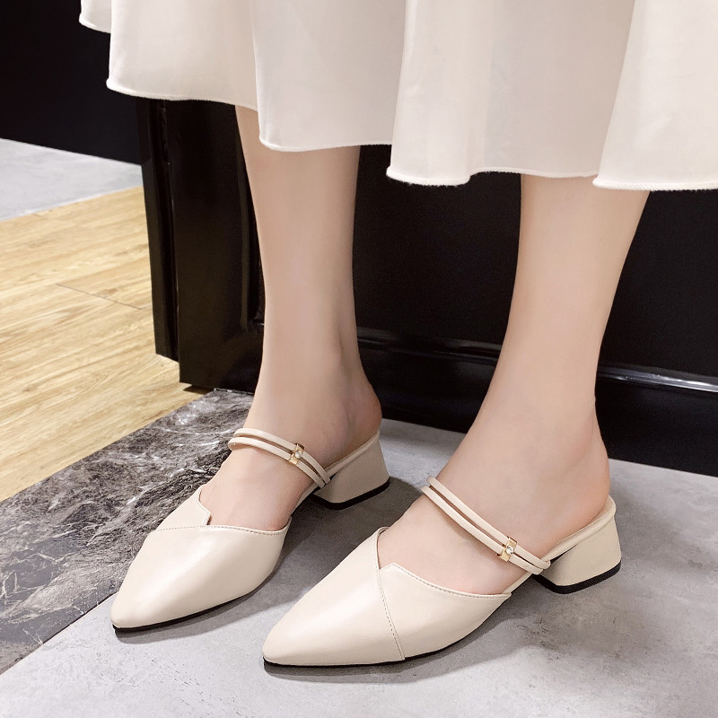 PU Leather High heels pumps women shoes 2019 Summer shoes women Fashion Pointed Square heel sandals women Slip-On Casual shoes 5