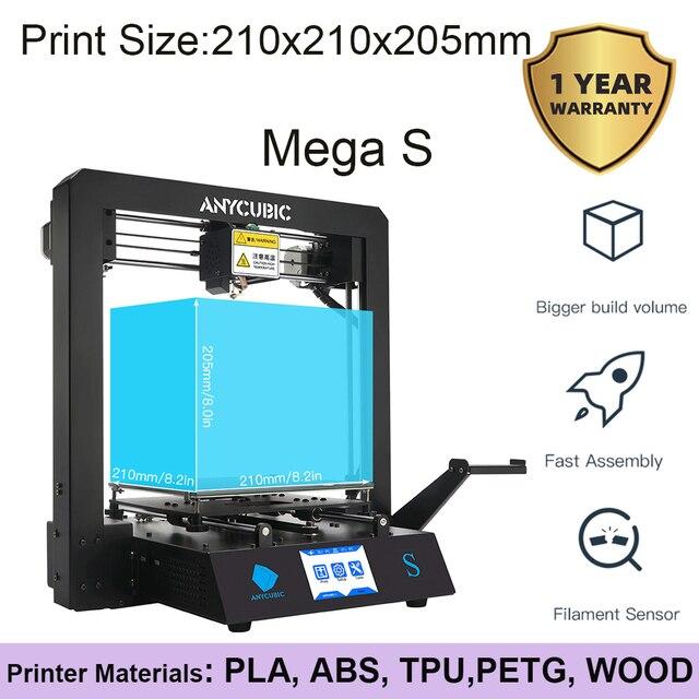 Anycúbico pla 3d impressora i3 mega s completo metal quadro industrial grau de alta precisão impressora 3d kits diy 3d ducker