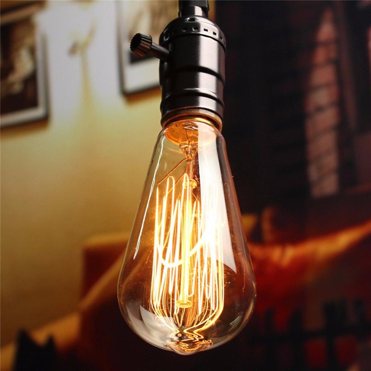 6 uds E27 60W Edison Vintage bombilla antigua de filamento de carbono Industrial de vidrio lámpara de filamento de ampolla incandescente Bombillas Edison clásicas bombilla de luz con filamento LED E27 4W 220V 240V bombilla incandescente Retro cálida bombilla Edison para lámpara colgante