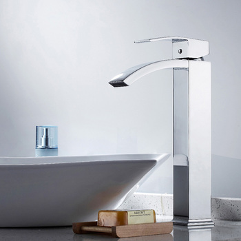 Bathroom Sink Faucet Chrome Brass Waterfall Basin Sink Faucet Single Handle Single Hole Cold and Hot Water Mixer Tap copper kitchen faucet hot and cold water tank rotating wash basin sink single cold household sink faucet