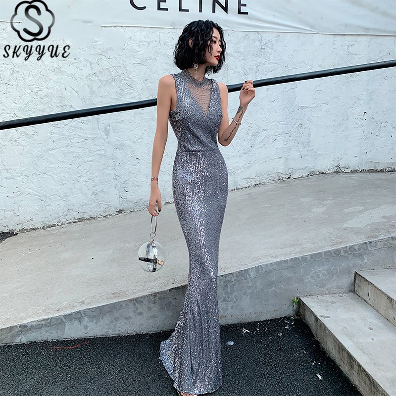 Skyyue Eveing Gowns High Collar Sleeveless Floor-Length Vestidos De Fiesta Sequined Mermaid Women Party Dresses K071