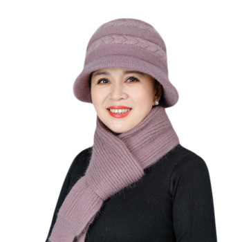 New Mom Hat Women Hat Scarf Set Winter Hat and Scarf Set Rabbit Fur Hat Winter Knitted Bucket Warm Hat and Scarf Set for Women stylish mixed color knitted bucket hat for women
