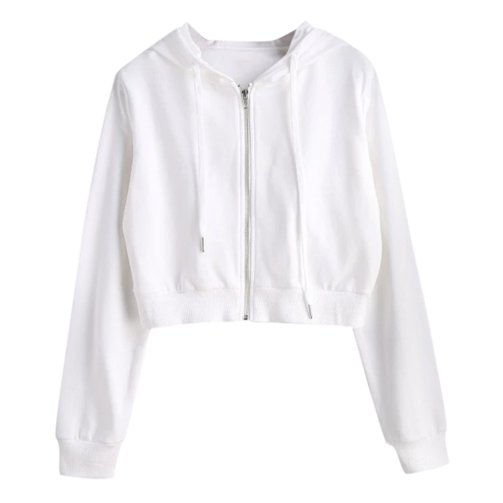 JAYCOSIN Zipper Short Ladies Casual Hood long-sleeved Sweatshirt Fashion Casual Sports Sweatshirt Daily Autumn And Winter Models