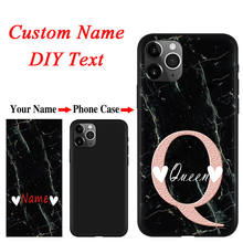 Marble Pattern Luxuey Case For iphone 11 12 Pro XS Max XR X SE 2 DIY Custom Name Phone Case For iphone 8 7 6 6S Plus 5 TPU Coque