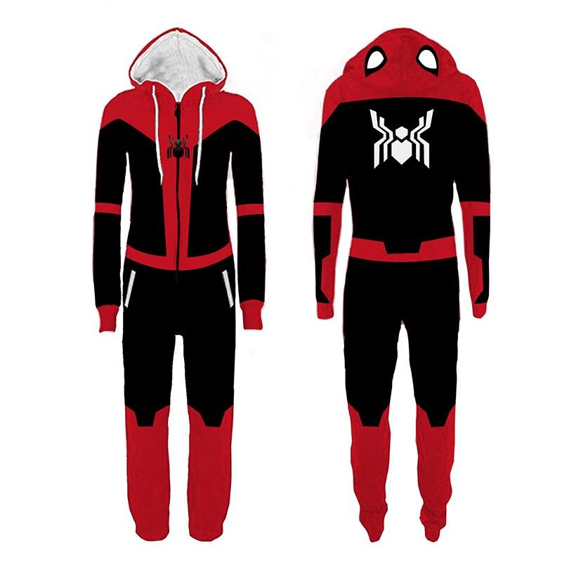 Superhero Spiderman Cosplay Pajamas Adult Spider-verse Costume Jumpsuit Pyjamas One-Piece Pajamas Sleepsuit For Autumn Winter