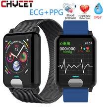 "Chycet חכם צמיד אק""ג PPG לחץ דם מדידה נשים שעון קצב לב צג כושר להקת עם פעילות Tracker"