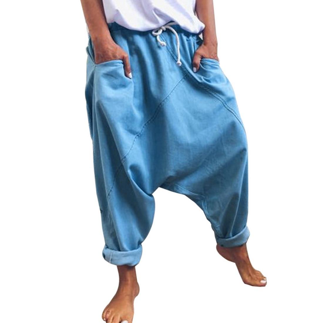 Fashion Harem Pants Women Casual Hip Hop Loose Trousers With Pocket Solid Color Vintage Joggers Wide Leg Pants Women 2020 Capris