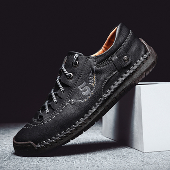 Spring New Men Shoes Lace-Up  Man Casual Shoes Moccasins Flats Shoes Male Quality Split Leather Loafers Man HC-690