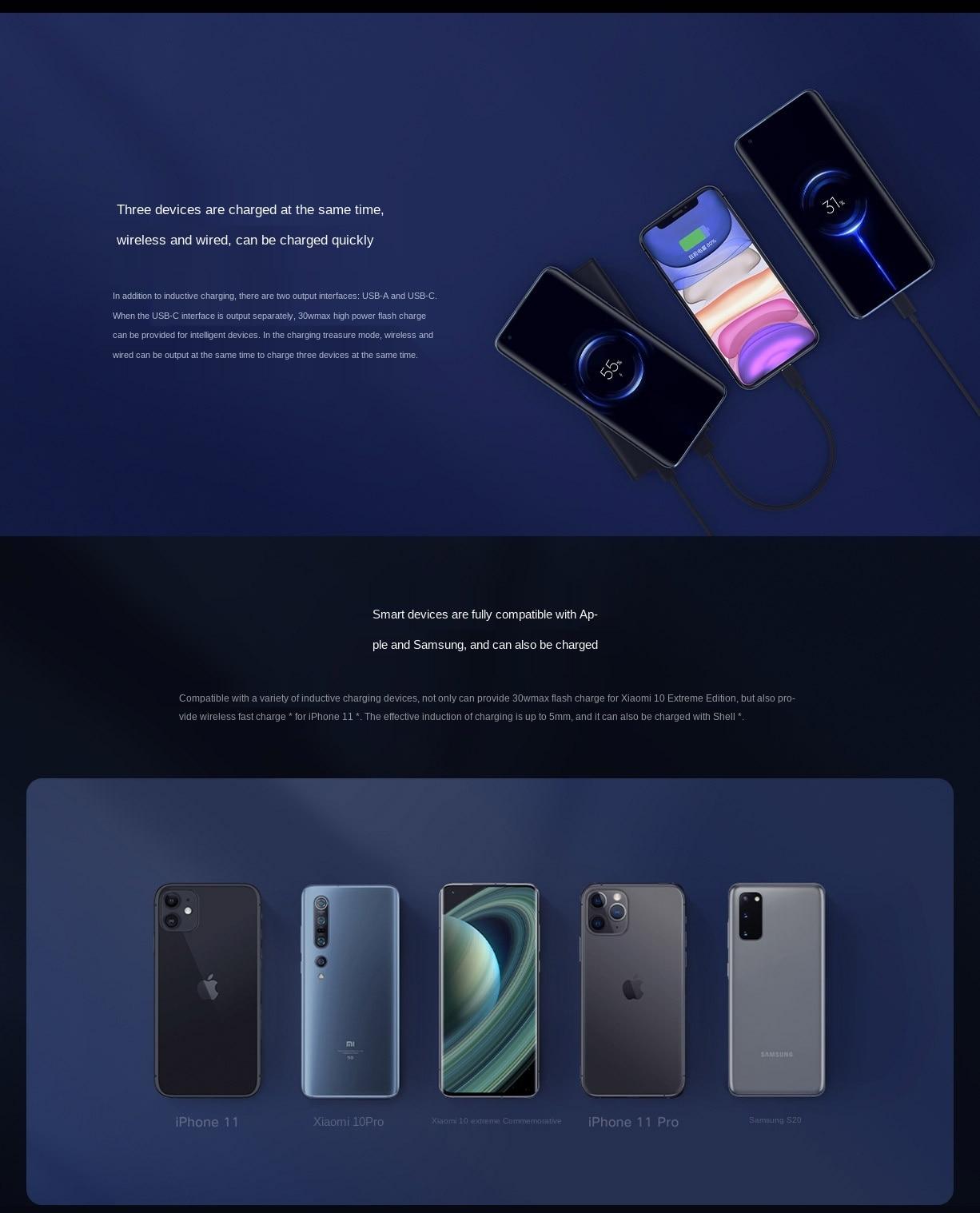 3 dispositivos al mismo tiempo Power Bank de 10000 mAh con carga inalámbrica Xiaomi