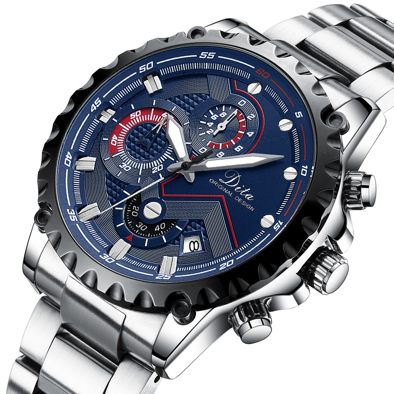 Chronograph Quartz Watch Men Stainle
