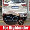 Carro de aço inoxidável tubo escape silenciador para toyota highlander 2015 2016 2017 2018 2019 2020 acessórios do carro auto peças