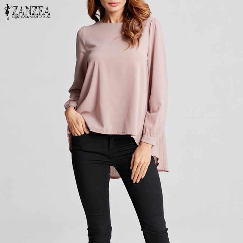 Vrouwen Asymmetrische Tops Plus Size Chiffon Blouse 2019 ZANZEA Fashion Blusas Vrouwelijke Zomer Lange Mouwen Geplooide Chemise