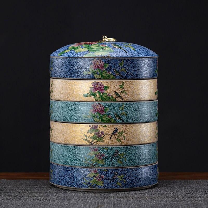 Large Tea Cake Tin Household Stoneware Airtight Jar Moisture-proof Tea Caddy Tea Packaging Box Chinese Style Tea Cake Set Tea Ti