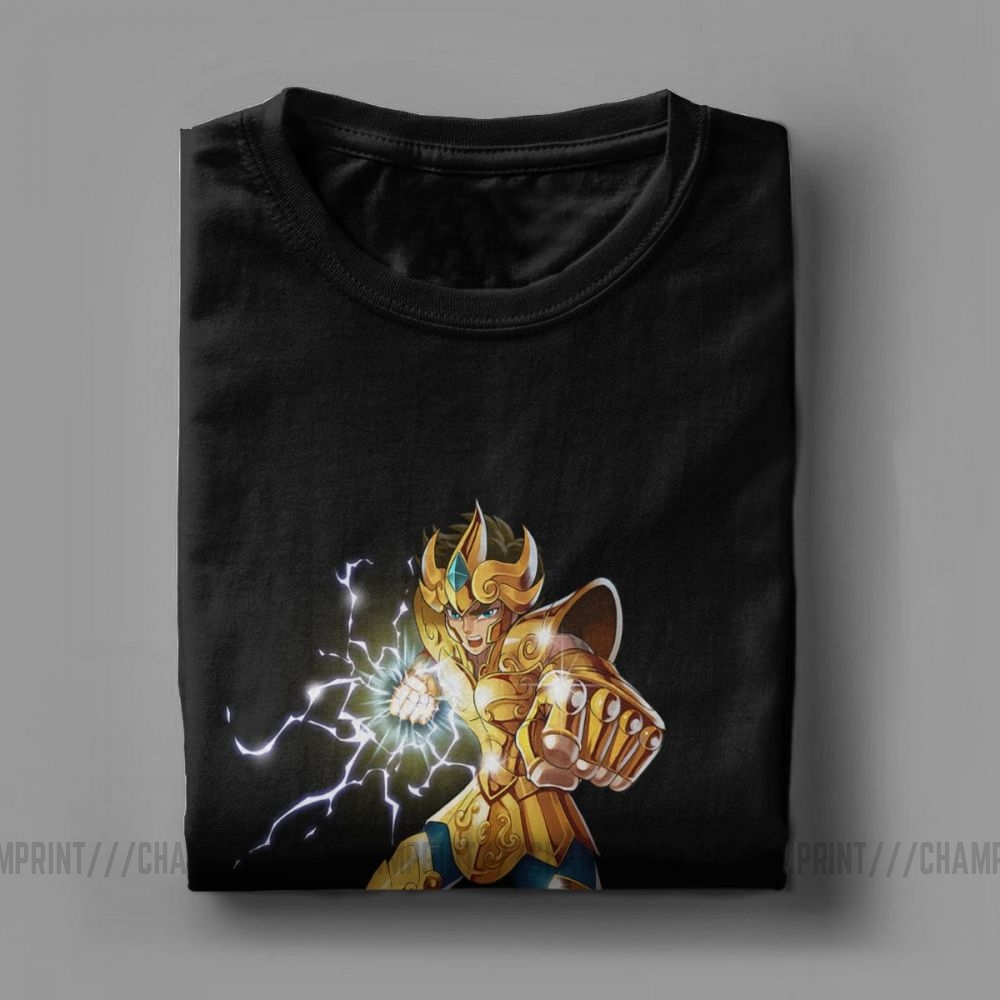 Image 5 - Novelty Leo Constelacion T Shirt Men Cotton T Shirt Knights of the Zodiac Saint Seiya 90s Anime Short Sleeve Tees Plus Size TopsT-Shirts   -