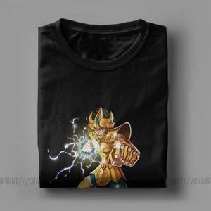 Image 5 - Novelty Leo Constelacion T Shirt Men Cotton T Shirt Knights of the Zodiac Saint Seiya 90s Anime Short Sleeve Tees Plus Size Tops