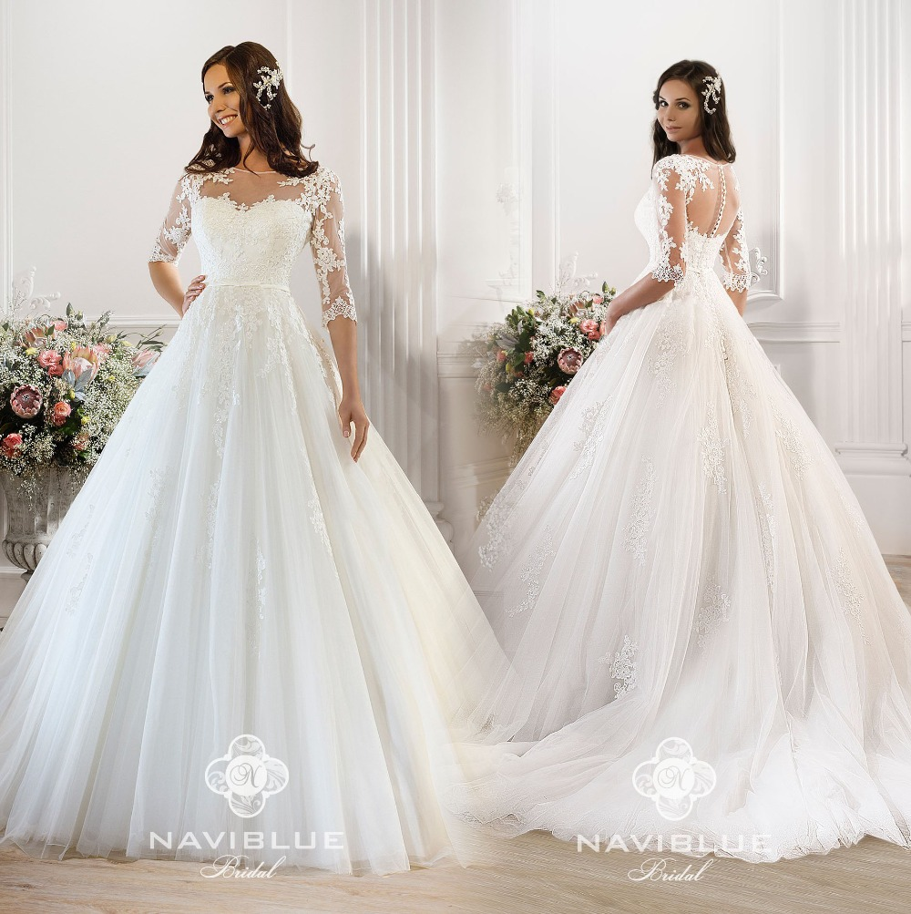 Robe De Mariage New Design Long 2018 O-Neck Half Sleeves Chapel Train A-Line Appliques Bridal Gown Mother Of The Bride Dresses