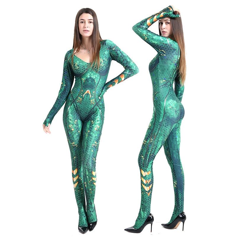 Aquaman Mera Queen Cosplay Costume Superhero Costume For Women Zentai Bodysuit Jumpsuits Suit Halloween Costume For Women