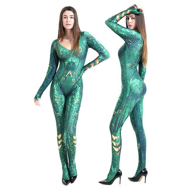 Aquaman Mera Queen Cosplay Kostuum Superhero Kostuum Voor Vrouwen Zentai Bodysuit Jumpsuits Pak Halloween Kostuum Voor Vrouwen