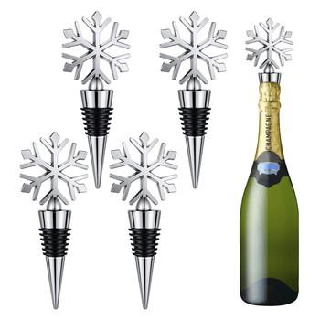 4pc Snowflake wina korek do butelki wtyczka butelka do picia korek do butelki ponownego użycia korek do wina pokrywa do butelki szampana lub wina musującego korek do butelki # YL10 tanie i dobre opinie CN (pochodzenie) Metal Ze stopu aluminium ze stopu aluminium Ekologiczne Wine Cover Cocktail tace przekąski