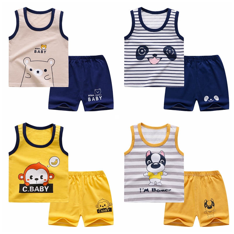 Baby Boy Clothes Casual Tracksuit  Pure Cotton Clothing Summer Clothes For Babies T-shirts + Pants For Kids Sports Outfit