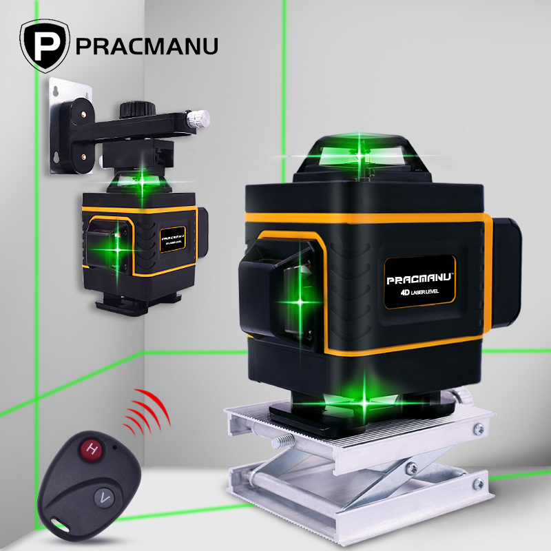 PRACMANU 16 Lines 4D Green Laser Level Horizontal And Vertical Cross Lines With Auto Self-Leveling, Indoors And Outdoors