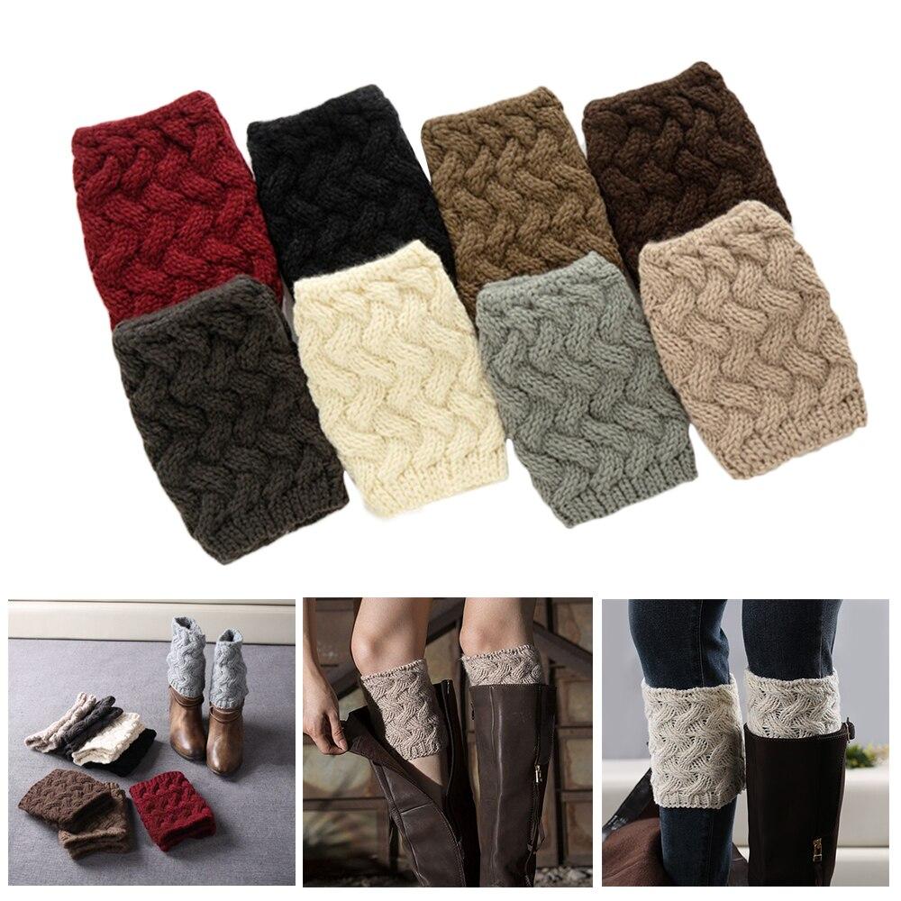 Рождественские носки для женщин; зимние теплые вязаные гетры с меховой отделкой и манжетами; однотонные носки для обуви; Рождественская оде...