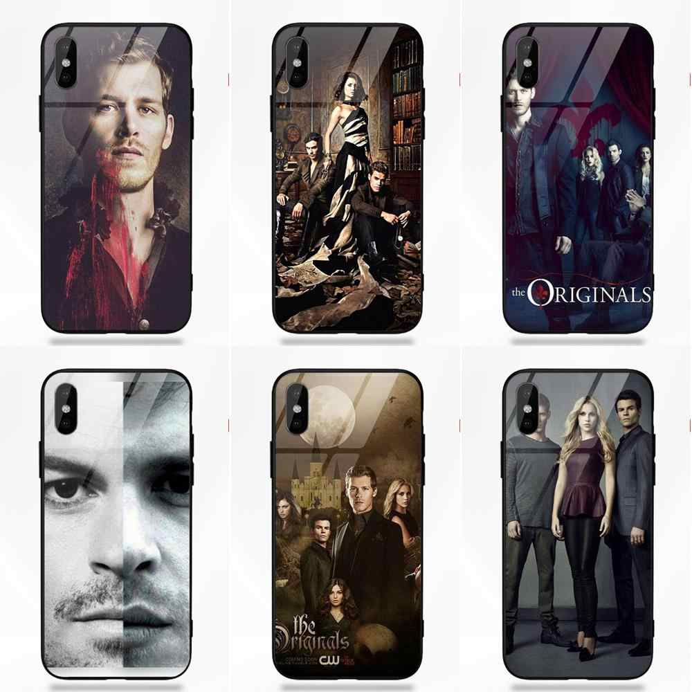 Os Originais-the Vampire Diaries Para iPhone Da Apple X XS Max XR 5 5C 5S SE 6 6S 7 8 Plus Quadro TPU Macio De Luxo Vidro Temperado