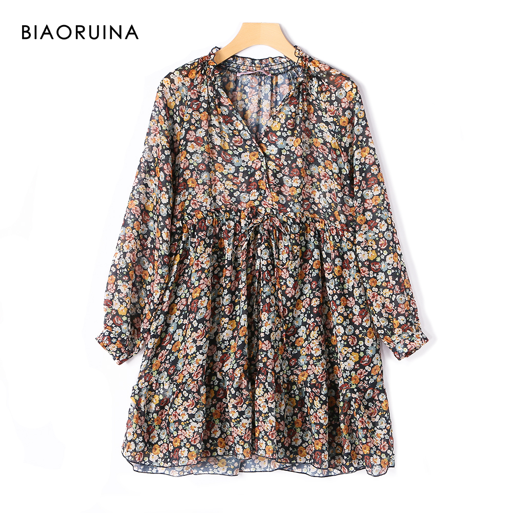 BIAORUINA Women's Indie Folk Retro Floral Printed Dress With Elastic Drawstring Female V-neck Chiffon Holiday Mini Dress