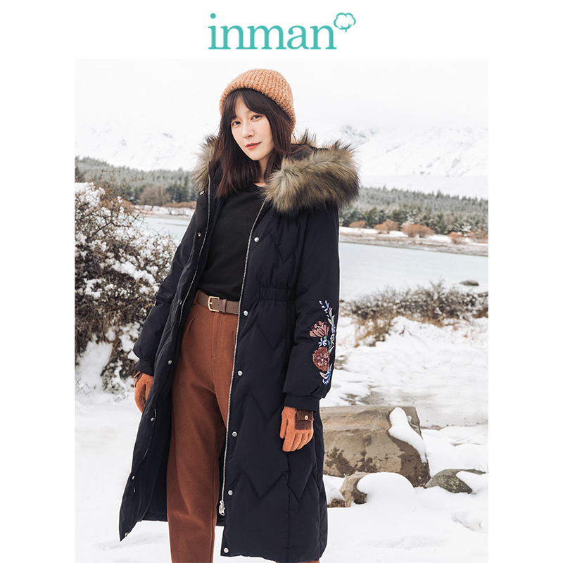 INMAN 2019 Winter New Arrival Fashion Hooded Elastic Defined Waist Embroidery Women Long   Down     Coat