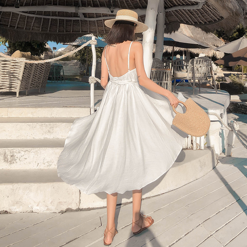 (Photo Shoot) New Style Women's, White Immortal Holiday Skirt Seaside Beach Skirt Sexy Backless Strapped Dress Long Skirts