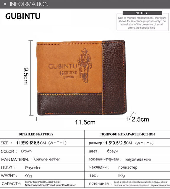 H465d6e81ece94607b85fd4044dc2939bV - GUBINTU Genuine Leather Men Wallets Coin Pocket Zipper Real Men's Leather Wallet with Coin High Quality Male Purse cartera