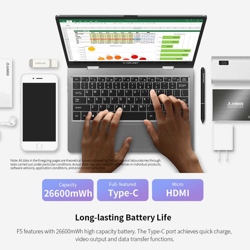 Teclast F5 מחשב נייד Windows 8GB RAM 256GB SSD Intel תאומים אגם N4100 1920*1080 טעינה מהירה 360 מסתובב Touch מסך